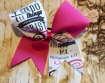 I can do all things in christ cheer bow/cheer bows/cheer bow/softball bows/inspirational cheer bows