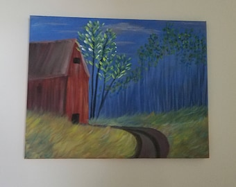 Red Barn, Dirt Road, Original Painting, Acrylic Painting, Amateur Art