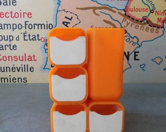 ON SALE VINTAGE Desk Organizer  made of orange plastic in 70s . Small !