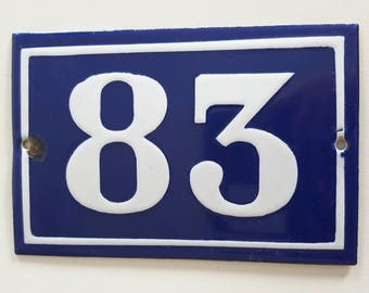 Old French enamel house number SIGN Door street address gate PLATE PLAQUE Enamel steel metal 83 Blue
