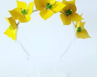 L E M O N S Yellow Leather Crown,Headband, Leather Flower Headpiece, Wedding Fascinator