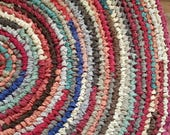 Large Handmade Round Rag Rug - Earthtones - Rust, Burnt Orange,Gold, Green, Blue, Browns and Tans - Fall Colors