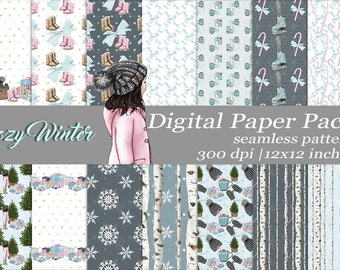 Cozy Winter White Skin Girl Digital Paper Pack Seamless Pattern Craft Winter Designer Paper Scrapbook Supplies  Christmas Birch Tree
