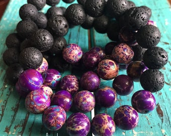 Single Stackable Mala Inspired Spiritual Junkies Chunky Essential Oil Diffuser Lava Bead + Purple Jasper Yoga and Meditation Bracelet 10 mm