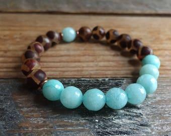 Amazonite + Dzi Agate | Spiritual Junkies | Yoga + Meditation | Stackable Mala Bracelet