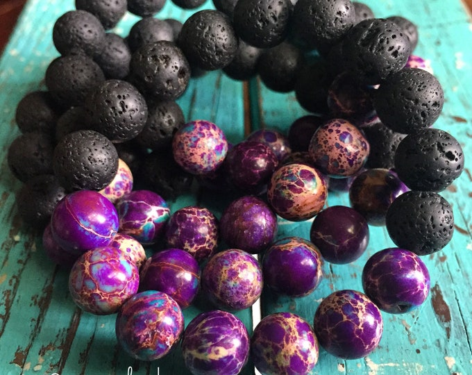 Single Stackable Mala Inspired Spiritual Junkies Chunky Essential Oil Diffuser Lava Bead + Purple Jasper Yoga and Meditation Bracelet 10 mm