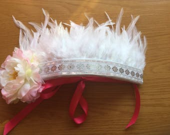 White feather and flower headdress, feather crown, flower crown, boho, festival, fancy dress, dressing up, costume.