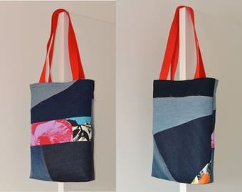 Tote bag purse Jeans denim,quilting linen coton, flower - recycled