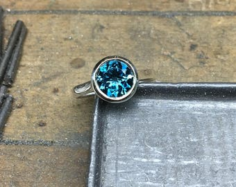 London Blue Topaz Ring, London Blue Topaz, Blue Topaz, London Blue Topaz Engagement Ring,  Bezel Ring, Silver, White Gold, Yellow Gold
