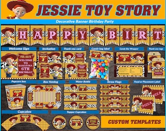 Jessie Toy Story printable party kit, Jessie Cowgirl Party Birthday package, Jessie Cowgirl themed party kit, Party package Jessie Cowgirl.