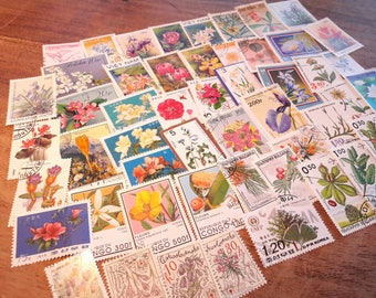 50 Flower Postage Stamps. Worldwide