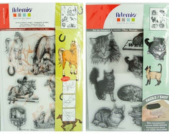 Tampons silicone Clear Stamp Chats Chaton ou Cheval Poulain Animal en planche 18cm Artemio