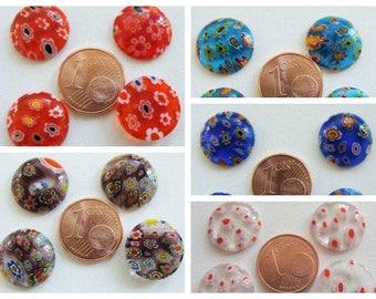 Cabochons 15mm verre MILLEFIORI motifs Fleurs multicolore par 4 pcs au choix DIY création bijoux déco
