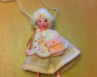 Necklace doll fabric and lace hanging light pink