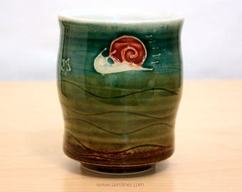Snail on a green hill. Handmade ceramic tea cup. 12 fl oz