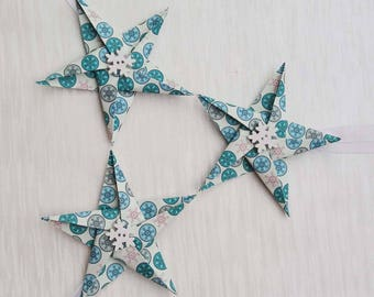 Snowflake Star Christmas decorations, Paper Stars, Paper tree decorations, festive, decor, paper, unique, buttons, winter