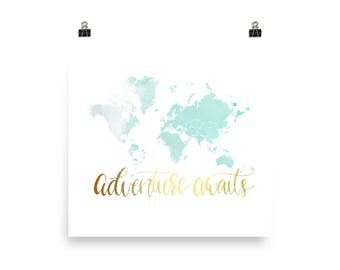Travel Quote Print, Travel Print, Travel Art Print, World Map Art Print, Travel Decor, Wall Decor, Wall Art, World Map, Watercolor Print