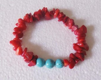 Bracelet in red and turquoise blue coral