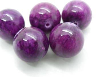 5 beads jade 16 mm plum jaspe hole of 1.5 mm plum Burgundy