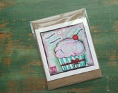 SALE! Cupcake Card, Cupcake Art Card, Cupcake Art, Whimsical Cupcake, Sale Card, Clearance Card, greeting card, note card, Happiness Cupcake