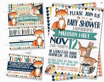 Woodland Baby Shower Invitation, Invitation Set, Invitation Insert, Diaper Raffle, Book Request, Thank You Card, Woodland, Baby Shower Set