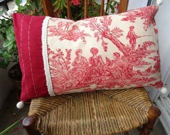 Pillow cover vintage Toile de Jouy pastoral, and romantic scene in the taste of François Boucher