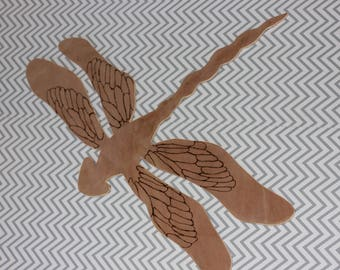 large wooden dragonfly, handcrafted wall art, wall decor, dragonfly, wood burning free shipping