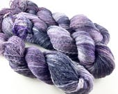 Sustainable yarn/ reclaimed/ repurposed/ hand dyed/ upcycled/ light fingering/ purple/ tonal/ 100 per cent wool/ Babel