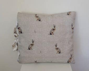 Hare and Owls Cushion Cover, Living Room pillow with contrasting side ties.