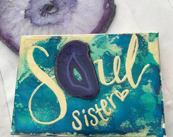 "boho gold and jewel tone on canvas with hand lettered ""soul sister"" with glossy resin finish"
