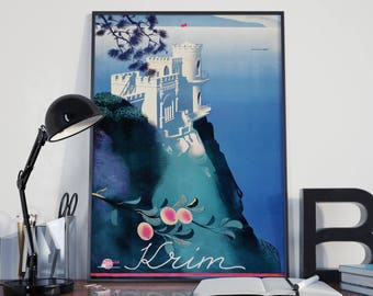 Crimea Travel Print Ukraine Travel Poster Ukrainian Art Russia Wall Art Russian Poster Russian Wall Art Russian Art Travel Wall Art