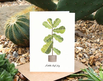 FIDDLE LEAF FIG - Plant Greeting Card with Plant Care, Plant Card, Ficus Lyrata, Plant Lover Card, Botanical Card, House Plant Card
