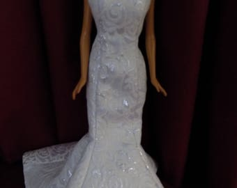 Silvery Moon evening gown.--fits Barbie and other 11.5 inch dolls