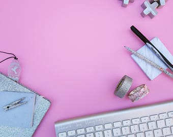 Feminine pink desk themed stock photo, Styled Stock Photography, silver stationery stock photo, desk mockup with grey and silver stationery