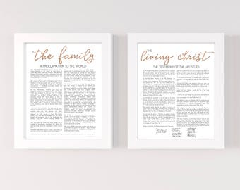 Bundle, The Family Proclamation. Living Christ, Printable, Rose Gold, Glitter, 16x20, 11x14, 8x10, Family Proclamation, Living Christ, LDS