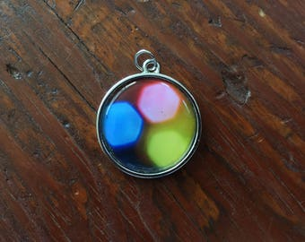 Photo pendant, bokeh photo pendant, abstract art necklace pendant