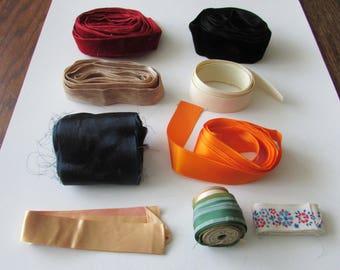 Lot Vintage Ribbon Velvet Grosgrain Red Black Beige