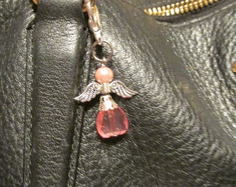 Pink Guardian Angel Charm Zipper Pull Key Chain