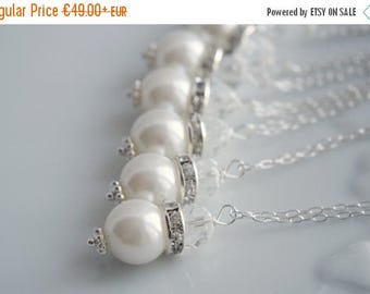 Sale Pearl Necklace Set Pearl Crystal Necklace Wedding Necklace Bridesmaid Necklace Wedding Jewelry Set Ivory Pearl Necklace Gift Bridesmaid