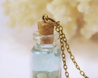 Sale Miniature ocean necklace Shell necklace Ocean in a Bottle necklace  Sea bottle Glass Bottle Necklace  Natural Necklace Nautical Jewelry