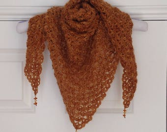 Mohair shawl, Laceweight, Amber beads, Crocheted,