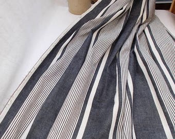 SALE 10% OFF Stripey Ticking Fabric. Vintage French 1950's Striped Ticking Fabric Black/Blue and Natural Stripe  (f42)
