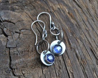 Tanzanite Drop Earrings, Silver Tanzanite Earrings
