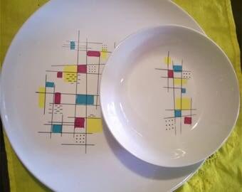 Vintage Mid Century Modern dinner plate and salad bowl, Salem China, Mardi Gras pattern