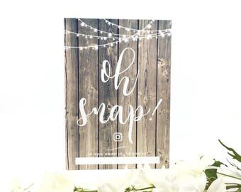 Personalised rustic wooden wedding Instagram sign, Personalised hashtag wedding, social media, oh snap