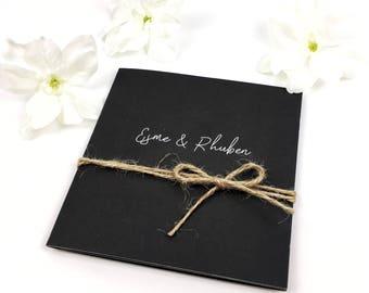 Personalised Folded Chalkboard Wedding Invitation and RSVP set / Rustic / Vintage / UK / Invitation suite