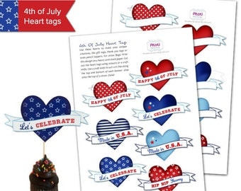 Printable 4th of july decorations, 4th of July tags, Printable 4th of July decor, July 4th party decorations, July 4th printable heart tags.