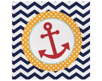 Nautical Napkins - Nautical Party - Ahoy Baby - Nautical Birthday - Nautical Baby Shower - Anchor Birthday - Nautical Bachelorette Party