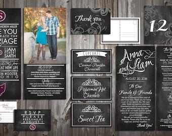 Customized Chalkboard Wedding Invitation and more kit-Digital File