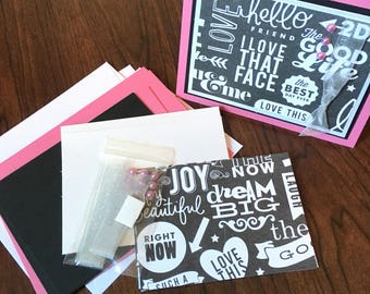 DIY Card Kit, Hello, 4Pk, Blank Inside, Card Making, Kids Craft, Greeting Card Kit, Premade Card
